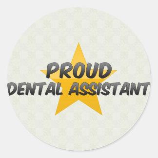 Ayudante de dentista orgulloso etiqueta redonda