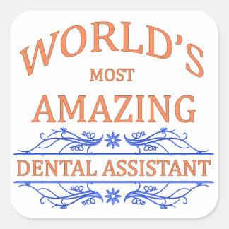 Ayudante de dentista colcomanias cuadradas personalizadas