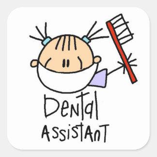 Ayudante de dentista pegatina cuadradas