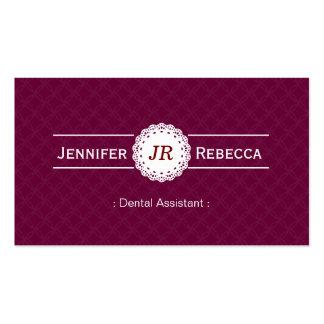 Ayudante de dentista - púrpura moderna del monogra plantilla de tarjeta de visita