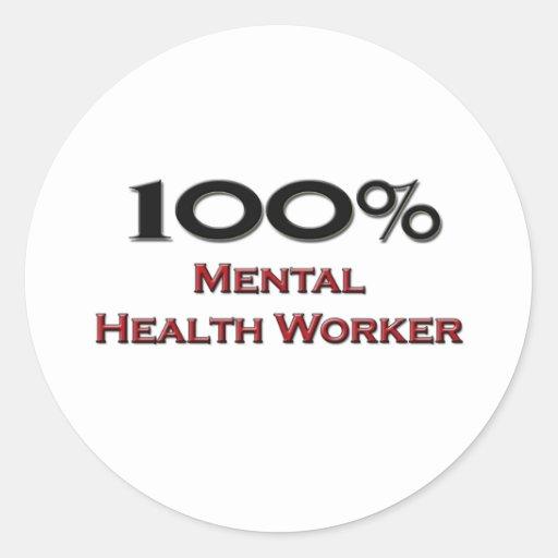 Ayudante de sanidad mental del 100 por ciento pegatina redonda