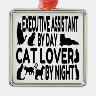 Ayudante del ejecutivo del amante del gato adorno navideño cuadrado de metal
