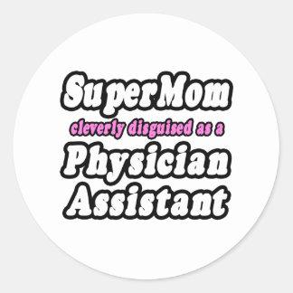 Ayudante del médico del SuperMom… Pegatina Redonda