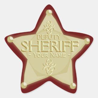 Ayudante del sheriff con su pegatina de la