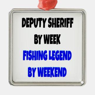 Ayudante del sheriff de la leyenda de la pesca ornamentos de navidad