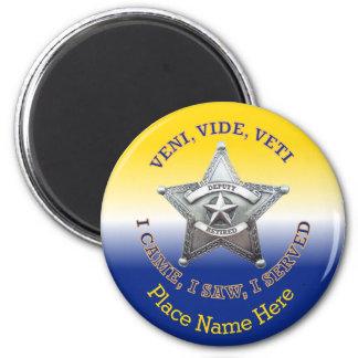 Ayudante del sheriff jubilado imán redondo 5 cm