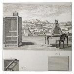 Ayudas del dibujo: un obscura de la cámara y una a azulejo cuadrado grande