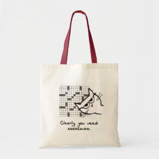 Ayudas enojadas del gato con el crucigrama bolsa tela barata