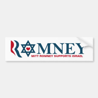 Ayudas Israel de Mitt Romney Etiqueta De Parachoque