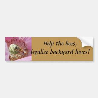 ¡Ayude a las abejas, legalice las colmenas del pat Pegatina Para Auto
