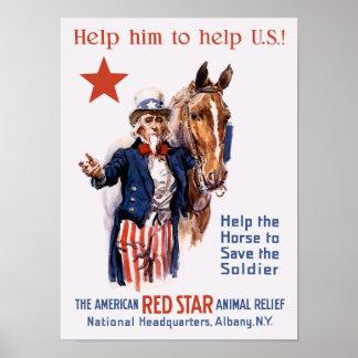 Ayude al caballo a ahorrar al soldado -- WWI Impresiones