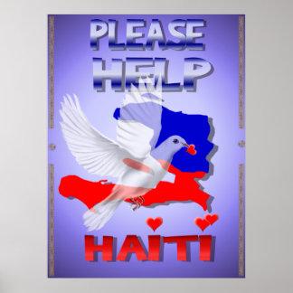 Ayude por favor a Haití a imprimir Poster