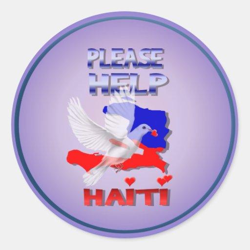 Ayude por favor al pegatina de Haití