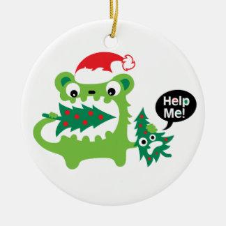 Ayúdeme ornamento del navidad adorno navideño redondo de cerámica