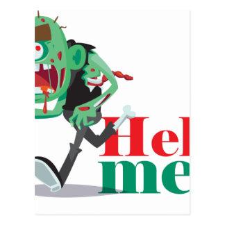ayúdeme zombi - diseño divertido tarjeta postal