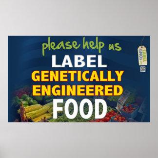 ¡Ayúdenos a etiquetar las comidas de GMO! Póster