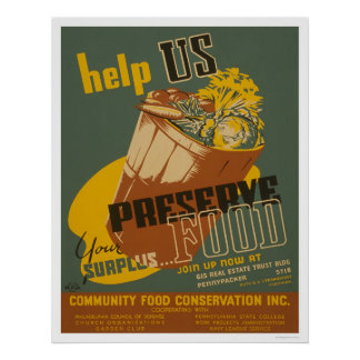 Ayúdenos a preservar su comida de sobra - WPA Posters