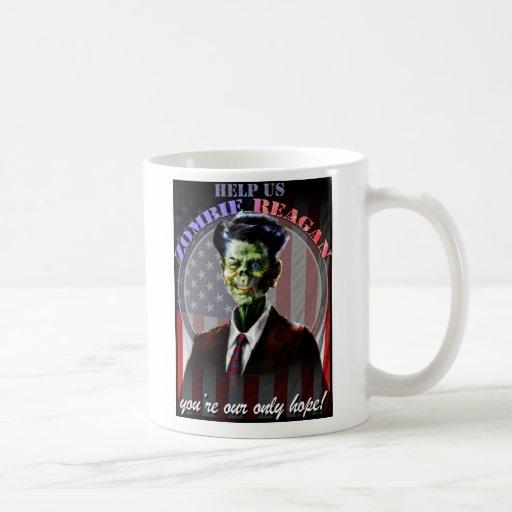 ¡Ayúdenos zombi Reagan! Tazas