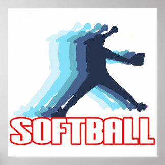 Ayuna la silueta del softball de la echada póster