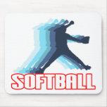 Ayuna la silueta del softball de la echada alfombrillas de ratones