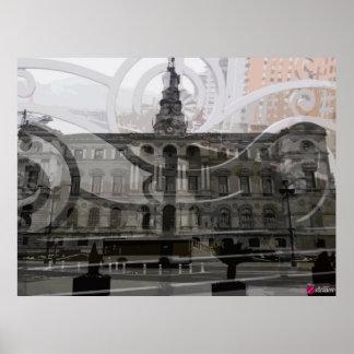 Ayuntamiento de Bilbao con reja Puente de Deusto Póster