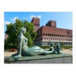 Ayuntamiento, estatua Oslo Tarjetas Postales