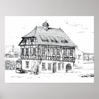 Ayuntamiento Grötzingen Rathaus Póster