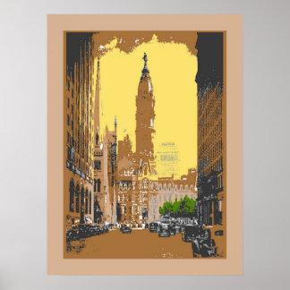 Ayuntamiento Philadelphia del estilo del vintage Impresiones