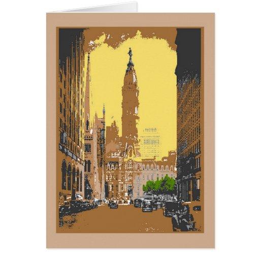 Ayuntamiento Philadelphia del estilo del vintage Tarjeta Pequeña