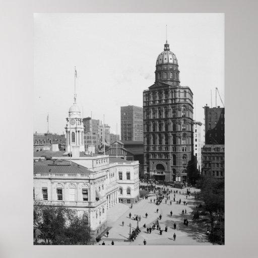 Ayuntamiento y edificio del mundo póster