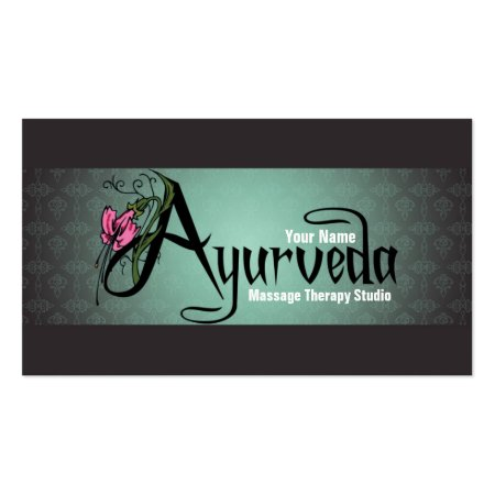 Charcoal Black and Gray Damask Pattern Ayurveda Business Cards