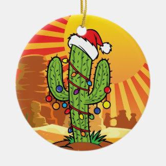 AZ  Arizona Christmas Saguaro Cactus Double-Sided Ceramic Round Christmas Ornament