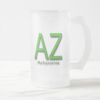 AZ Arizona green Frosted Glass Beer Mug