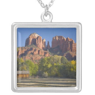 AZ, Arizona, Sedona, Crescent Moon Recreation 2 Silver Plated Necklace