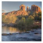 AZ, Arizona, Sedona, Crescent Moon Recreation 3 Large Square Tile