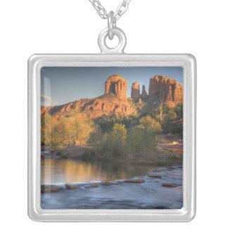 AZ, Arizona, Sedona, Crescent Moon Recreation 3 Silver Plated Necklace
