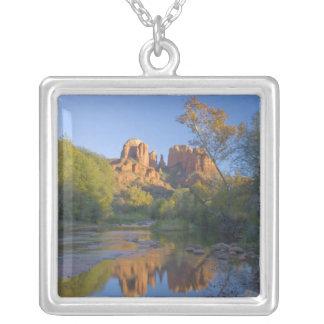 AZ, Arizona, Sedona, Crescent Moon Recreation Silver Plated Necklace