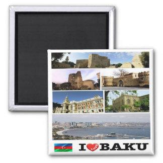 AZ - Azerbaijan - Baku - I Love - Collage 2 Inch Square Magnet