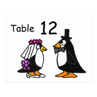 AZ- Bride and Groom Penguins Table Number Postcard