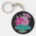 AZ Design Arizona Cactus Blooms Basic Round Button Keychain
