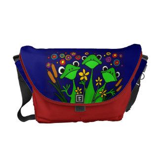 AZ- Folk Art Frogs Messenger Bag