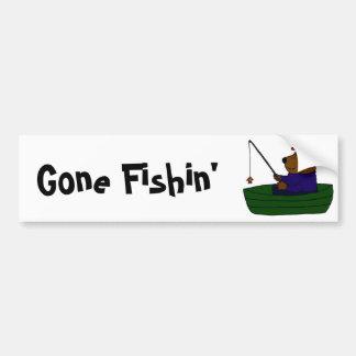 AZ- Funny Bear Fishing Design Bumper Sticker