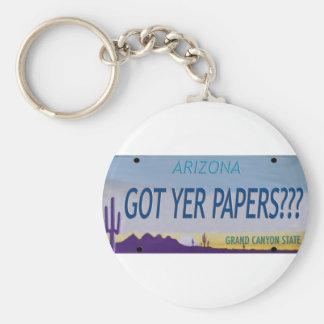 AZ Got yer Papers? Basic Round Button Keychain