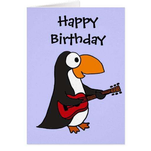 AZ- Penguin Playing Guitar Cartoon Greeting Card