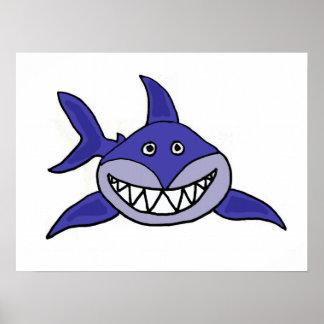 AZ- poster sonriente del dibujo animado del tiburó