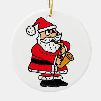 AZ- Santa que juega el ornamento del saxofón Adorno Navideño Redondo De Cerámica