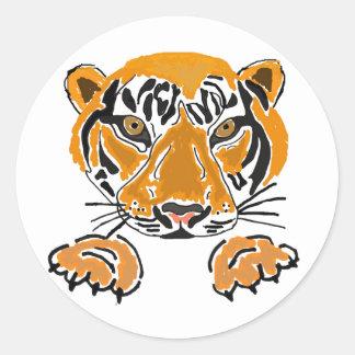AZ- tigres pegatinas de las patas Etiqueta Redonda
