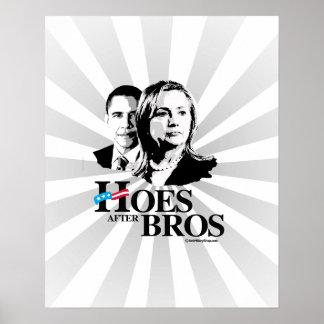 Azadas después de Bros -- Hillary y Obama Póster