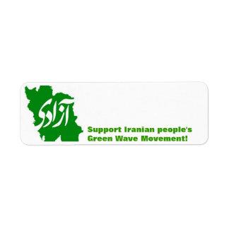 """AZADI"" Green Iran Map Label"