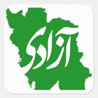 """""""Azadi"""" Iran Flag Map Square Sticker"""